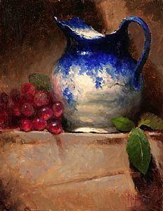 """Jarro Azul com Uvas Vermelhas"" - Pintura"