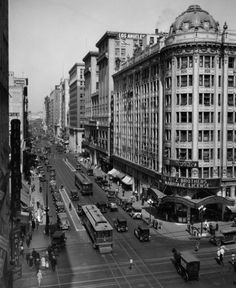 The downtown Los Angeles Pantages Theater, at 7th and Hill Street, 1926.   Street cars (and a horse drawn wagon) ply the busy streets of what is still one of downtown's busiest intersections. Visible behind the theater is the Los Angeles Athletic Club.