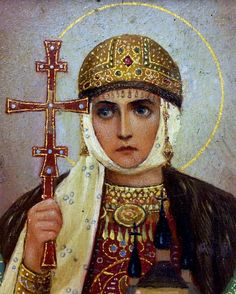 Saint Olga, Princess of Kiev (c.890-969). Wife of Prince Igor. After her husband's death, Olga ruled Kievan Rus as Regent (945-c.963) on behalf of their son Sviatoslav. The first Rus ruler to convert to Christianity, she took the name Yelena after baptism.