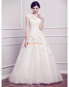 Kenneth Winston A-linie Schöne Elegante Brautkleider aus Softnetz mit Applikation