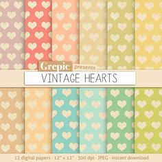 "SALE 50% Hearts digital paper: ""VINTAGE HEARTS"" romantic love patterns on old paper backgrounds in old vintage and pastel colors by Grepic"