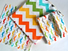 ORGANIC Reusable Sandwich & Snack Bag SET - Rainbow Mustache and Chevron - lined with Organic Cotton - Plastic-free, Velcro-Free - Flip Top on Etsy, $12.50