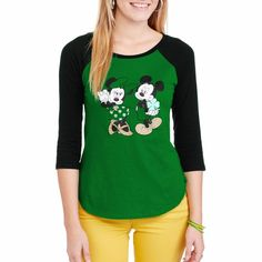 Womens Mickey and Minnie Mouse St. Patricks Day Tshirt XL Graphic Baseball Tee  #Disney #GraphicTee
