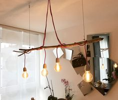 DIY Driftwood 3 Light Pendant with Anthropologie Caged Lights ...