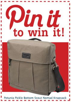 Re-pin this sporty satchel by Petunia Pickle Bottom, follow @PoshTots' Pinterest page and be entered to win this versatile bag. Converts in moments from a messenger to a backpack. Makes a great gift for a new dad! One winner will be chosen at random on 5/31/12. Scout Nomad Knapsack by Petunia Pickle Bottom from #PoshTots