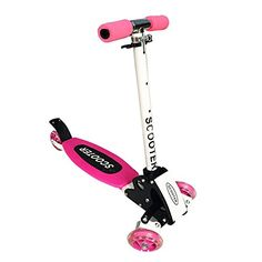 Drasawee Kids Foldable 4 Wheels Adjustable Height Mini Kick Scooters Pink * Continue to the product at the image link.
