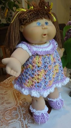 Crochet cabbage patch kid doll clothes tutorial crochet cabbage crochet outfit cabbage patch kids 16 inch baby doll dress shoes lavender white blue pink yellow dt1010fo