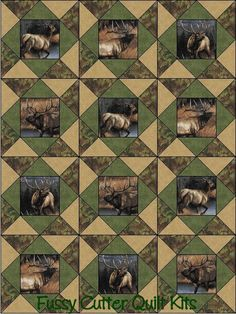 Elk Deer Moose Wilderness Woods Hunting Lodge Cabin Fabric Fast Easy to Make Pre-Cut Quilt Blocks Top Kit Quilting Squares Material Fabric Panel Quilts, Lap Quilts, Quilt Blocks, Shirt Quilts, Moose Quilt, Wildlife Quilts, Photo Quilts, Quilt Border, Quilting Room