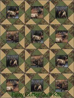 Elk Deer Moose Wilderness Woods Hunting Lodge Cabin Fabric Fast Easy to Make Pre-Cut Quilt Blocks Top Kit Quilting Squares Material