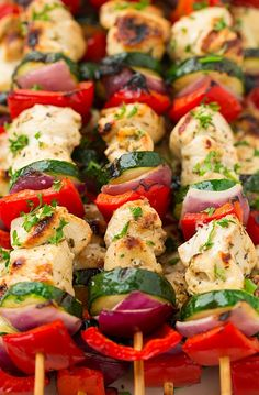 The best DIY projects & DIY ideas and tutorials: sewing, paper craft, DIY. DDIY Food & Recipe For Party Greek Chicken Kebabs with Tzatziki Sauce - Cooking Classy -Read Greek Chicken Kebabs, Greek Marinated Chicken, Chicken Kabobs, Greek Kebab, Veggie Kabobs, Chicken Sauce, Chicken Gyros, Salad Chicken, Bbq Chicken