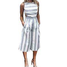 9c82af535c6 Womens Summer Playsuit Casual Sleeveless Striped Jumpsuit Romper Clubwear  Wide Leg Pants Outfit  gt  gt