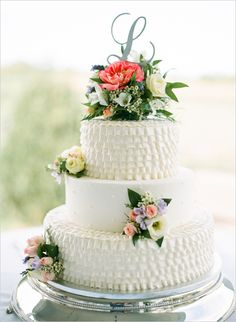 Wedding Cakes ruffled wedding cake - Soft Southern Vintage Wedding photographed by Vine and light at Cross Creek ranch Elegant Wedding Cakes, Beautiful Wedding Cakes, Beautiful Cakes, Dream Wedding, Cake Wedding, Spring Wedding, Amazing Cakes, Take The Cake, Love Cake