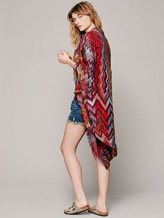 missoni woven poncho   Free People Womens Ikat Kimono in Red (Novelty Zig Zag)