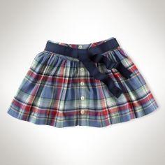 plaid button front skirt
