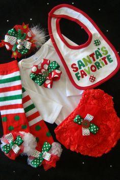 Baby girl outfit onesie bodysuit romper bib leggings bloomers headband SANTAS FAVORITE Christmas red white green. $43.50, via Etsy.