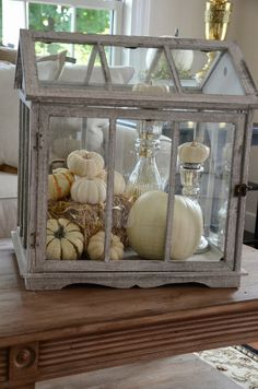 StoneGable:One of my favorite things to decorate this fall was the glass greenhouse. In keeping with the soft neutral colors in the living room, I used white pumpkins and silver. It gives the vignette a rustic luxe feel.
