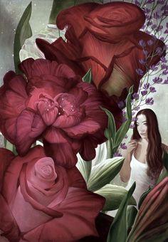 """Lukas Johannes Aigner, Aus dem Zyklus: """"Oksana, durch die Blumen gemalt"""", Acryl auf MDF, 201 x 141 cm, 2016"""