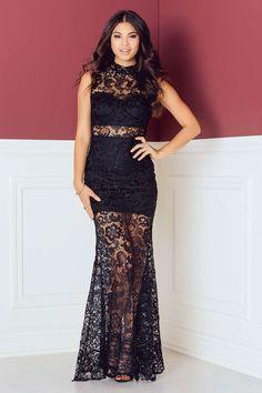 High Neck Crochet Detail Maxi Dress Virkning 977247a19fc16