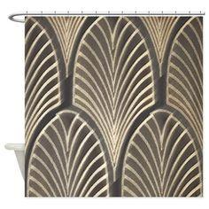 Art Deco Fan Geometric Shower Curtain On CafePress Fabric Curtains
