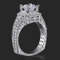 Just my style! Crown Flat Bottom European Style Band with Over 80 Hand Set High Quality Diamonds Antique Style Engagement Rings, Split Shank Engagement Rings, Unique Diamond Engagement Rings, Deco Engagement Ring, Designer Engagement Rings, 5 Carat Diamond Ring, Diamond Rings, Gemstone Rings, Crown