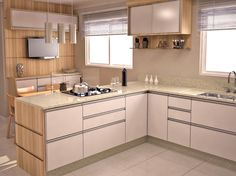 Linda cozinha, gostei da disposição dos armários e das cores clarinhas, deu amplitude ao ambiente!!♥♥♥♥