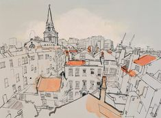 Lucinda Rogers - View over Spitalfields looking west (London Drawings)