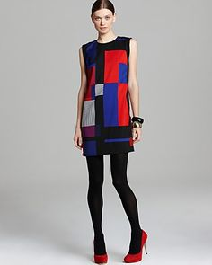 VINCE CAMUTO Sleeveless Geometric Patchwork Shift Dress | Bloomingdale's