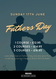 Book now for FATHERS DAY at Reids Restaurant T:  01277 632378 June Days, Restaurant Bar, A Table, Fathers Day, Restaurants, 21st, Sunday, Events, Books