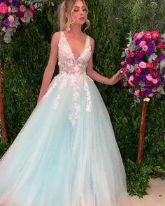 elegant v-neck sleeves prom ball gown with appliques, #vestido Elegant Wedding Dress, Dream Wedding Dresses, Elegant Dresses, Sexy Dresses, Prom Dresses, Tulle Prom Dress, Lace Dress, Blue Party Dress, Groom Dress