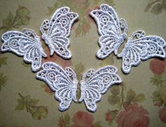 Venice Lace Butterfly Appliques White x 6 by PrimroseLaceRibbon, $5.75