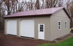 Building a Shed has Never Been so Easy Boat Garage, Pole Barn Garage, Two Car Garage, Garage Shop, Garage Plans, Garage Ideas, Pole Barns, Metal Garage Buildings, Metal Garages
