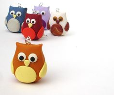 Polymer Clay Owl Keychain  Orange and Yellow by owlsomegifts, $9.00