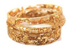 Resin Bracelet Bangle with Embedded 24k Gold Leaf by NancyTranter