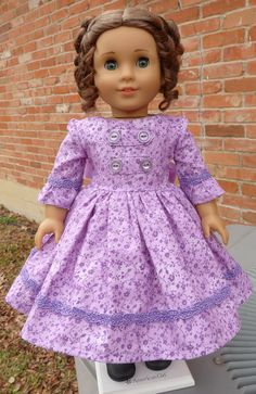 "18"" Doll Clothes Historical Civil War Style Lilac Gown Fits American Girl Marie Grace, Cecile, Addy"