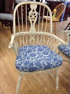 We just received 8 of these terrific Ralph Lauren chairs in distressed white finish with blue and white cushions