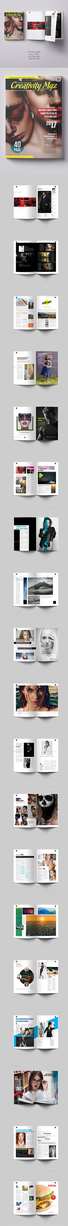 Creativity Magazine Template 40 Page by aykutkorkut Creativity Magazine Template 40 Page 40 custom pages · Free fonts used · Print ready (300 dpi, CMYK) · Separated layers (graph