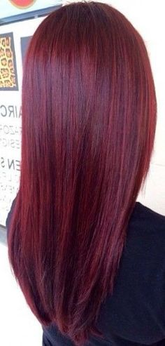 Long Stick-Straight Burgundy Hair