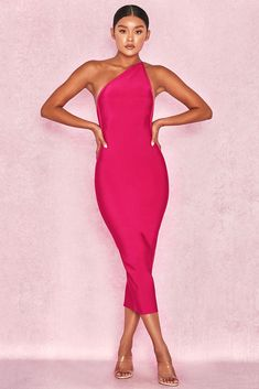 46f85b236c HOUSE OF CB  Sasha  Hot Pink One Shoulder Bandage Dress S 8   10