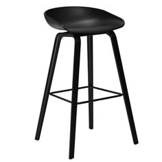 About a Stool Bar stool - H 75 cm - Plastic & wood legs White and black stained wood by Hay