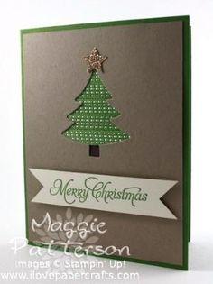 Ribbon Christmas tree card by adhering strips of ribbon behind diecut shape. by keri
