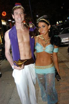 Best Halloween costumes: Aladdin and Princess Jasmin. Cute I wonder if Aaron would be willing to do something like this.