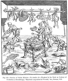 16th C Kitchen scene from from 'Banchetti compositioni de Vivende' by Cristoforo de Messisbugo (1549)