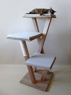 Arbre a chat en bois massif de 6 tages design arbres - Arbre a chat en bois naturel ...