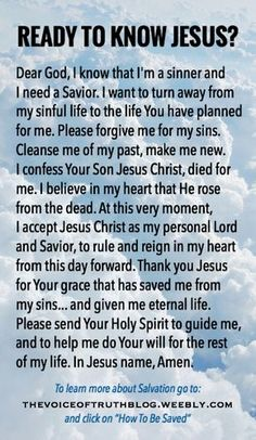 Information on salvation and the Sinner's Prayer Sinners Prayer, Jesus Prayer, Prayer Verses, Faith Prayer, Prayer Quotes, Bible Verses, Prayer Cards, Jesus Our Savior, Jesus Is Lord
