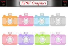 Pastel Cameras Clip-art Set in a PNG format. Personal & Small Commercial use