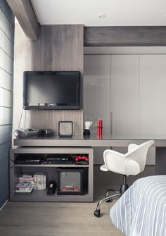 Compact study - TV panel at BR Condominium Interior, Condo Interior, Home Interior Design, Interior Architecture, Home Office Bedroom, Home Office Space, Bedroom Decor, Home Room Design, Kids Room Design