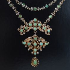 Antique Austro-Hungarian Silver Gilt Turquoise Seed Pearl Necklace