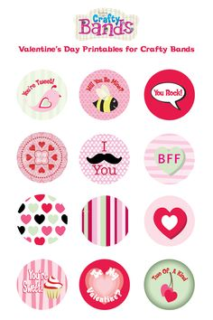 Just for you! Fun #Crafty #Free #Valentine printables for you to use with your Crafty Bands #Bracelets! More details on our blog! http://www.craftybandsblog.blogspot.com/