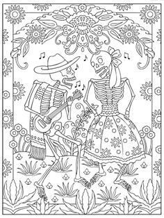 creative haven day of the dead coloring book dover publications sample page - Dia De Los Muertos Coloring Book