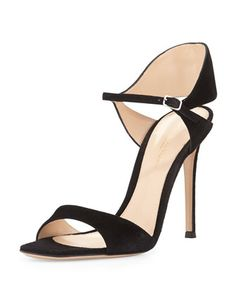 Suede+Tapered+Ankle-Wrap+Sandal,+Black+by+Gianvito+Rossi+at+Bergdorf+Goodman.